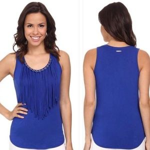 Michael Kors fringe top with grommets. New